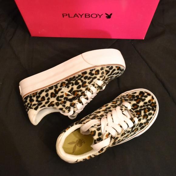 e0f4981ce2eb2 New PLAYBOY fuzzy leopard Platform Sneaker Shoes 7 NWT